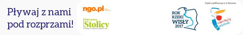 Baner Pływaj z nami pod rozprzami loga na banerze: ngo.pl, Informator Stolicy, Fundacja Pok Rzeki Wisły 2017, Zakochaj się w Warszawie
