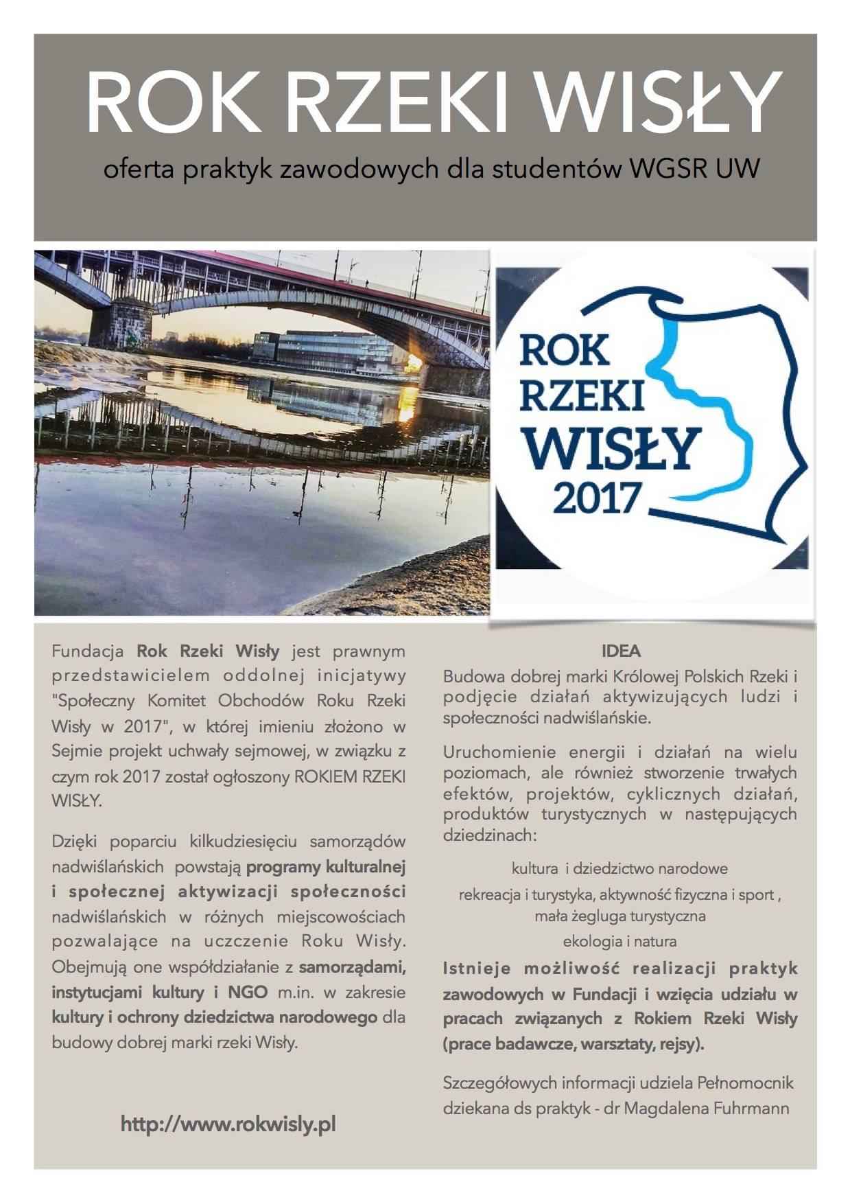 Oferta praktyk zawodowych dla studentów WGSR UW