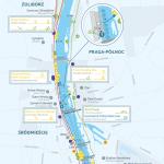 Mapa planowanych rejsów wzdłuż Wisły w Warszawie